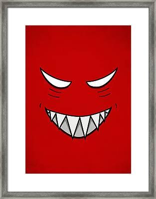 Cartoon Grinning Face With Evil Eyes Framed Print by Boriana Giormova