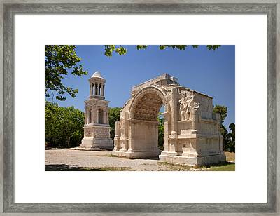 Carved Roman Trophies At Ancient Town Framed Print by Brian Jannsen