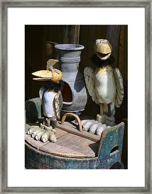 Carved Wooden Birds Framed Print by Linda Phelps