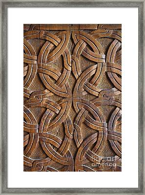 Carved Wooden Door In The Tsminda Sameba Cathedral Tbilisi Framed Print by Robert Preston