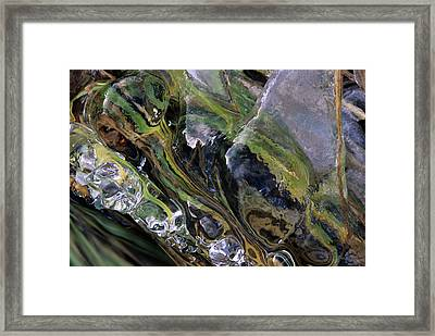Cascade Of Ice Framed Print by Don Johnston