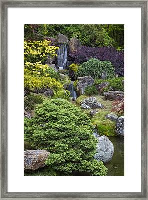 Cascade Waterfall - Japanese Tea Garden Framed Print by Adam Romanowicz