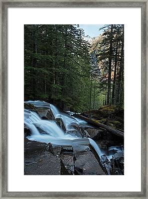 Cascading Mountain Falls Framed Print by Mike Reid