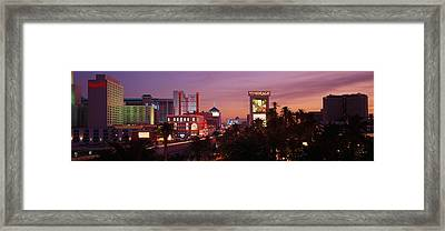 Casinos At Twilight, Las Vegas, Nevada Framed Print by Panoramic Images