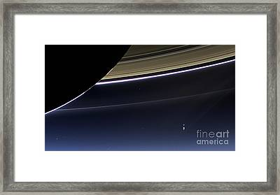 Cassini View Of Saturn And Earth Framed Print by Science Source