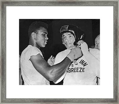 Cassius Clay And Johansson Framed Print by Underwood Archives