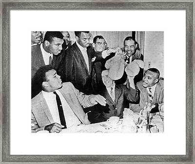 Cassius Clay Face Sonny  Liston Framed Print by Underwood Archives