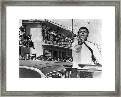 Cassius Clay In Football Parade Framed Print by Underwood Archives