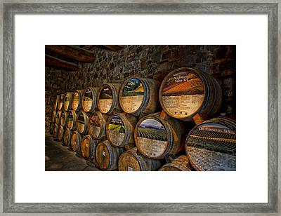 Castello Di Amorosa Of California Wine Barrels Framed Print by Mountain Dreams