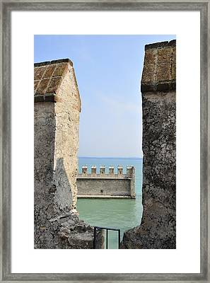 Castello Scaligero Castle Sirmione Italy Framed Print by Matthias Hauser