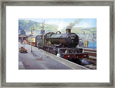 Castle At Kingswear 1957 Framed Print by Mike  Jeffries