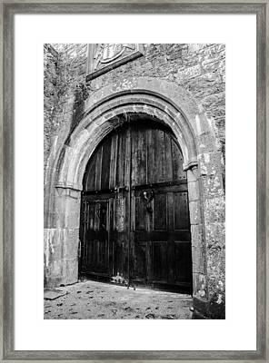 Castle Door In Black And White Framed Print by AMB Fine Art Photography