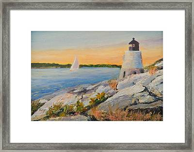Castle Hill Light House Newport Ri Framed Print by Patty Kay Hall