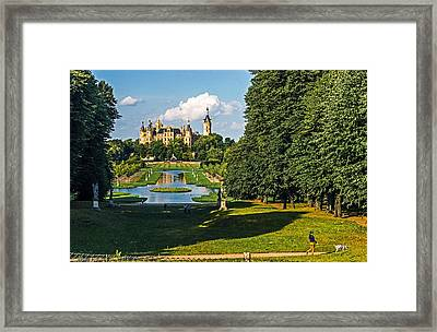 Castle Of Schwerin Landscape Framed Print by Michael Lobisch-Delija