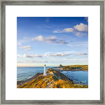 Castlepoint Lighthouse New Zealand. Framed Print by Colin and Linda McKie