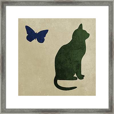 Cat And Butterfly Framed Print by Flo Karp