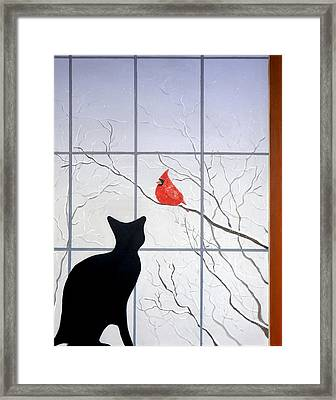 Cat And Cardinal Framed Print by Karyn Robinson