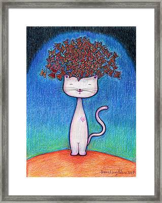 Cat And Monarcas Framed Print by Daniel Levy policar