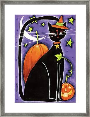 Cat And Pumpkins Framed Print by Anne Tavoletti