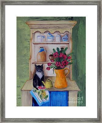 Cat And The Yellow Teapot Framed Print by Caroline Street