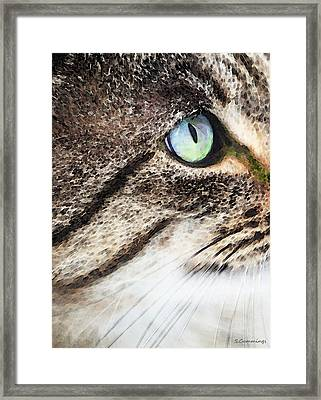 Cat Art - Looking For You Framed Print by Sharon Cummings