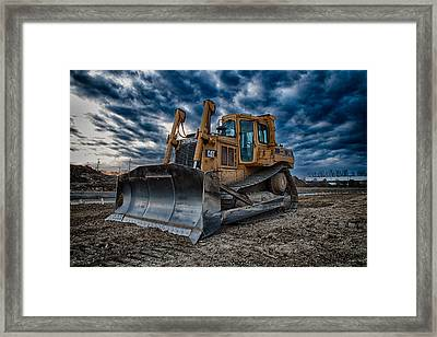 Cat Bulldozer Framed Print by Mike Burgquist