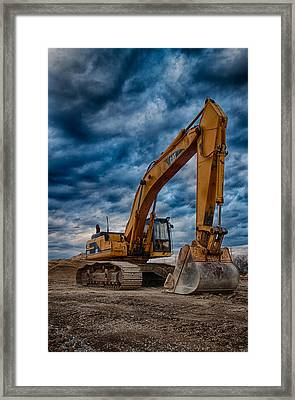 Cat Excavator Framed Print by Mike Burgquist