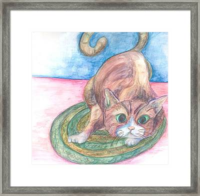 Cat In Action Framed Print by Cherie Sexsmith