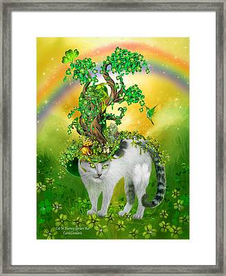Cat In Blarney Garden Hat Framed Print by Carol Cavalaris