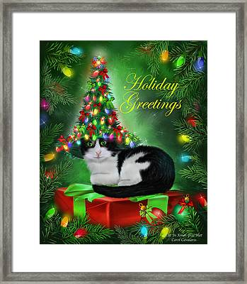 Cat In Christmas Tree Hat Framed Print by Carol Cavalaris
