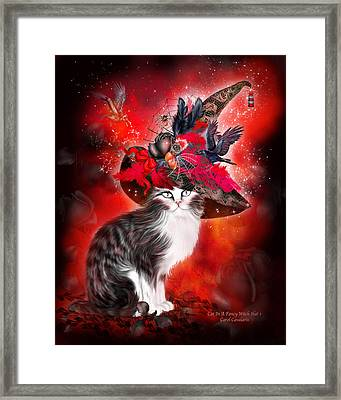 Cat In Fancy Witch Hat 1 Framed Print by Carol Cavalaris