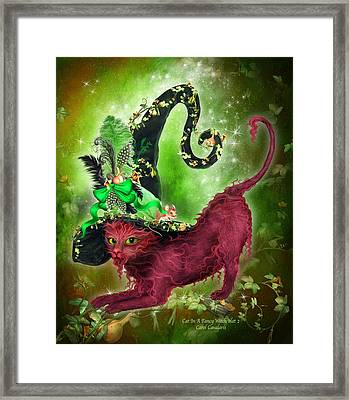 Cat In Fancy Witch Hat 2 Framed Print by Carol Cavalaris