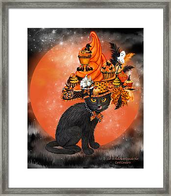 Cat In Halloween Cupcake Hat Framed Print by Carol Cavalaris