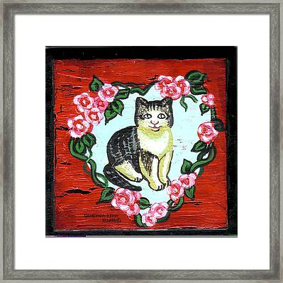 Cat In Heart Wreath 1 Framed Print by Genevieve Esson