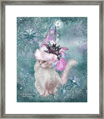 Cat In Snowflake Hat Framed Print by Carol Cavalaris