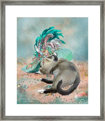 Cat In Summer Beach Hat Framed Print by Carol Cavalaris