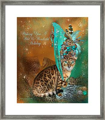 Cat In The Leopard Trim Santa Hat Framed Print by Carol Cavalaris