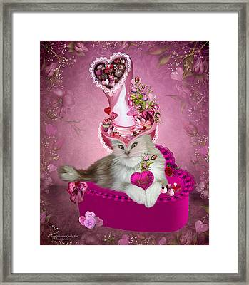 Cat In Valentine Candy Hat Framed Print by Carol Cavalaris