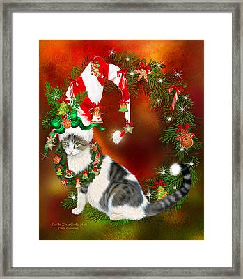 Cat In Xmas Cookie Hat Framed Print by Carol Cavalaris