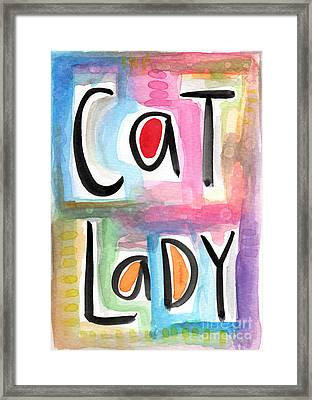 Cat Lady Framed Print by Linda Woods