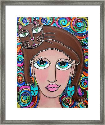 Cat Lady With Brown Hair Framed Print by Cynthia Snyder