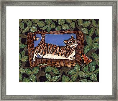 Cat Napping Framed Print by Linda Mears