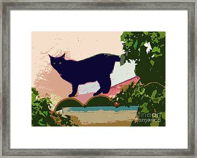 Cat On A Hot Tile Roof Framed Print by Barbie Corbett-Newmin