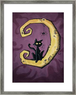Cat On The Moon Framed Print by Sara Coolidge