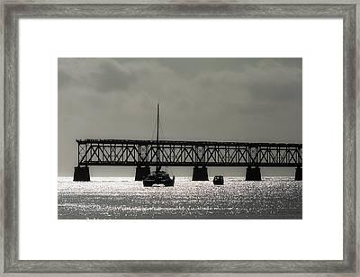 Catamaran Anchored At Old Bahia Honda Bridge Framed Print by Ed Gleichman