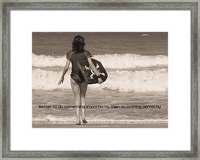 Catch A Wave Quote Framed Print by JAMART Photography