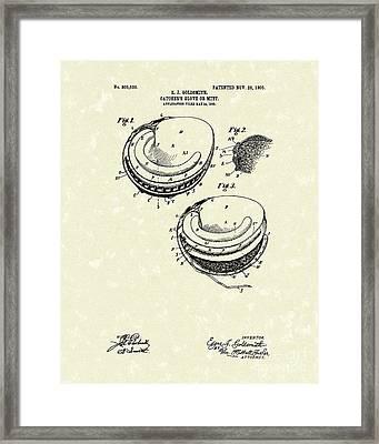 Catcher's Glove 1905 Patent Art Framed Print by Prior Art Design