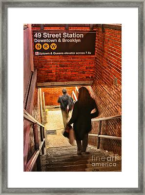 Catching The Subway Framed Print by Karol Livote