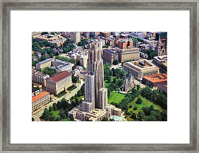 Cathedral Of Learning Aerial Framed Print by Mattucci Photography