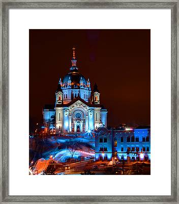 Cathedral Of St Paul All Dressed Up For Red Bull Crashed Ice Framed Print by Wayne Moran